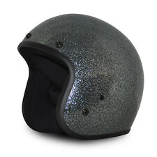 Gun Metal Flake Open Face Retro 3/4 Motorcycle Helmet DOT Cruiser S M L XL 2XL