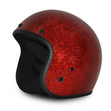 Red Metal Flake Open Face Retro 3/4 Motorcycle Helmet DOT Cruiser S M L XL 2XL