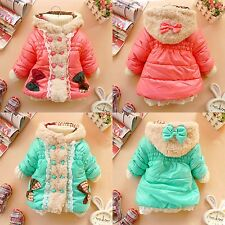 Fresh Girls Winter Fur Hoodies Bow Lace Baby Coat Jacket Kids Outerwear 12M-4T