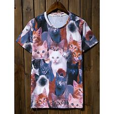 Nwt Hot Men Women 3D Cat Animal Print Short Sleeve Round Neck Top T-Shirt Casual