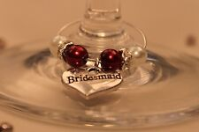 A04T Deep Red Top Table Heart Wedding Wine Glass Charms / Favours / Decorations