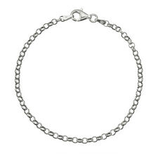 Solid 925 Sterling Silver 3.2mm Italian Round Rolo Cable Link Chain Anklet
