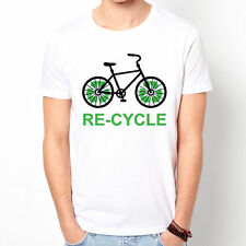 RE-CYCLE Cycle Bicycle Bike Fixed Gear Life Slogan party gift white t-shirt
