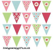 35 or 45 Edible Vintage Shabby Chic Bunting Cake   Cupcake Topper Paper Choice 1