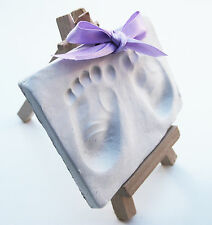 Soft White baby clay dough & display easel for baby handprint,footprint -unisex