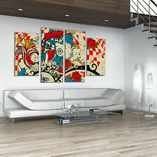 Contemporary Red Blue Graphic Artwork Canvas Print Wall Art Tattoo Style Picture