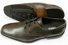 Men's Brown Rub-Off Real Leather Derby Style Lace Shoes, Size UK 7 / EU 41