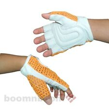 Bicycle Cycling Bike Half Finger Leather Gloves w/Mesh Upper Weight Lifting Gym