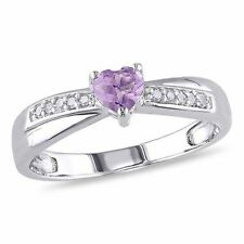 Sterling Silver 1/3 Ct Purple Amethyst Diamond Heart Crossover Engagement Ring