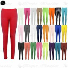 New Womens Full Ankle Length Plain Stretch Ladies Trousers Pants Tights Leggings