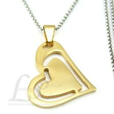 Women Stainless Steel Horizontal Sideways Gold Tone Heart Pendant w Necklace M14