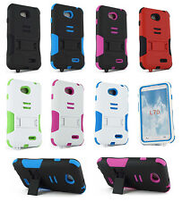 For LG Optimus L70 D325 Heavy Duty Hard Double Layer Hybrid Kickstand Case Cover