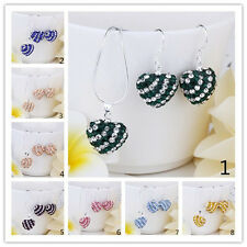Fashion Crystal Heart Beads Pendant Chain Necklace&Earrings Jewelry Sets