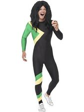 ADULT MENS JAMAICAN COOL HERO COSTUME SMIFFYS OLYMPIC ICON FANCY DRESS - 2 SIZES