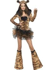 ADULT WOMENS FEVER TIGER COSTUME SMIFFYS SEXY ANIMAL FANCY DRESS - 4 SIZES