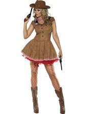ADULT WOMENS FEVER WILD WEST COSTUME SMIFFYS SEXY COWGIRL FANCY DRESS - 3 SIZES
