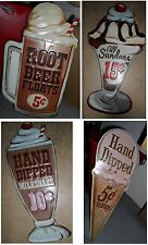 Vintage Metal Cafe Diner Signs MILKSHAKE ROOT BEER FLOAT ICE CREAM CONE SUNDAE