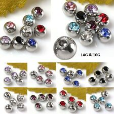 Crystal Steel Ball Cap Barbell Lip Eyebrow Tongue Nose Ring Piercing Accessories