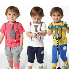 "Baby Boy Toddler Summer ""Tie"" Top T-Shirt+Pants Kid Clothes Outfit Suit Sz 1-6Y"