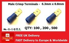 BLUE INSULATED MALE BLADE CONNECTORS SPADE CRIMP TERMINALS 6.3mm 0.8mm
