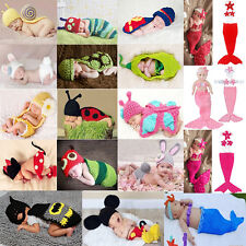 Baby Girls Boy Newborn-9M Knit Crochet Mermaid Mickey Clothes Photo Prop Outfits