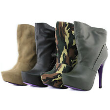Ankle Boots Almond Platform Front Military High Heel Riding Booties Womens Shoes