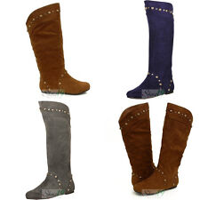 Faux Suede Studded Mid Calf Knee High Cowboy Riding Boots Flat Heel Shoes