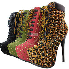 Women's Stylish Spike Studded Military Lace Up Platform High Heel Ankle Booties