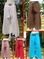 "Boho Summer yoga coconut Drawstring cotton pants trousers waist 24-40"" one size"