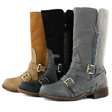 Women Ankle Booties Military Combat Boots Cowboy Buckle Strap Fur Warm Dress