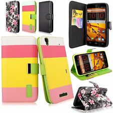 For ZTE Boost MAX N9520 Pu Leather Wallet Card Flip Open Pouch Case w/Strap New