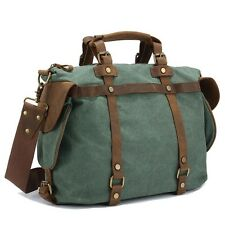 Men Women retro canvas leather Shoulder Bag Overnight duffle bag travel Luggage