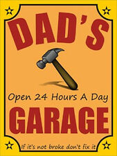 Dad's Garage Decorative Metal or Canvas Wall Decorations - Various Sizes