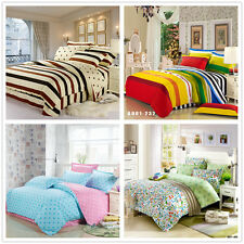 King/Queen/Double Size Bed Quilt/Doona/Duvet Cover Set New Cotton Floral Striped