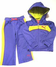 PUMA Girls New Purple Hooded Track Outfit Set size 18 months Nwt