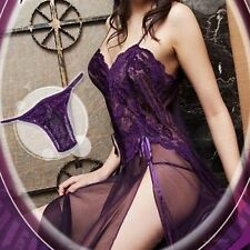 Women's Lace Sleep Dress Skirts See Through Lingerie Sleepwear+G-string hot j