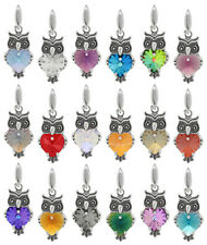 Genuine Sterling Silver Owl Pendant Made with SWAROVSKI 6228 Heart