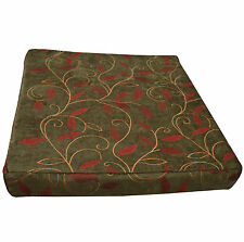 wh01t Deep Red Peach on Olive Plant Leaf Thick Cotton 3D Box Seat Cushion Cover