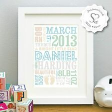 New! Gorgeous Personalised Baby/Birth/Boy/Girl Framed Print Picture Baby Gift