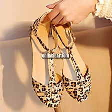 Fashion HOT Lady Women's Summer Sandals Shoes Leopard Flat Heel Flip Flops ONMF