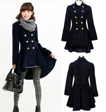 2014  NEW Women's Wool Blend Swallow Tail Coat Long Parka Outwear Trench Coat
