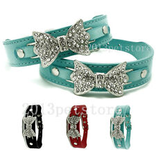 Dog collars bling Crystal Bow pu leather pet collar Puppy choker cat necklace