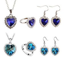 New Titanic Heart of Ocean Crystal Rhinestone Necklace Ring Earrings Set v#h9