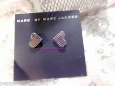 Marc Jacobs Hematite Hatched Heart Studs Earrings New GoToStuds bag Sale