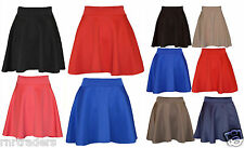Ladies Skirts Womens Belted Flared Plain Mini Skater Skirt Girl All Sizes-pnt