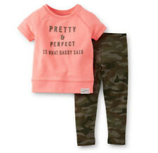 Carters 3 6 9 12 18 24 Months French Terry Top Camo Pants Set Baby Girl Clothes