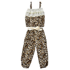 2014 NEW Leopard Baby Girls Kids Tube Top Shirt Clothes Long Pants Outfit Set