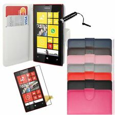 PU Leather Side Flip Wallet Case Cover for Nokia Lumia 520+ Film+ Stylus