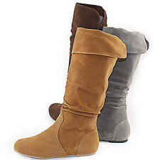 Women Flat Round Toe Slouch Knee Folddown Comfortable Mid High Boots Shoes