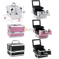 3 Color Makeup Train Travel Case Jewelry Box Pro. Cosmetic Organizer Lockable